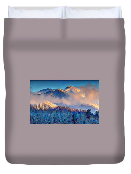January Evening Truchas Peak Duvet Cover