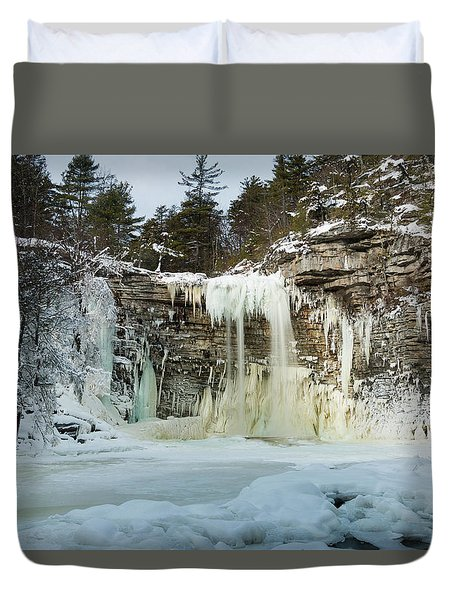 January Morning At Awosting Falls Duvet Cover