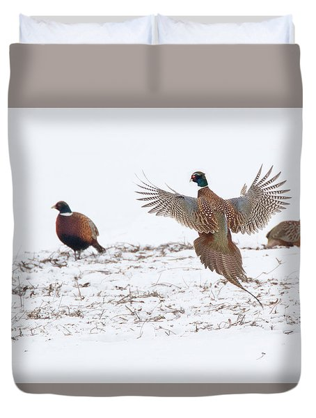January Pheasants Duvet Cover