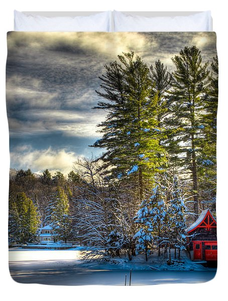 January Snow At The Red Boathouse Duvet Cover