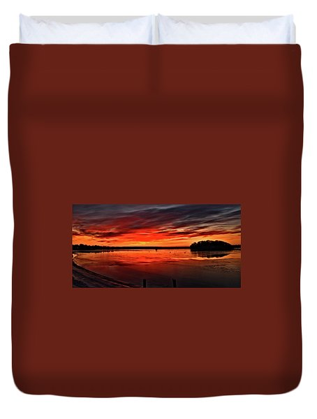 January Sunrise Onset Pier Duvet Cover