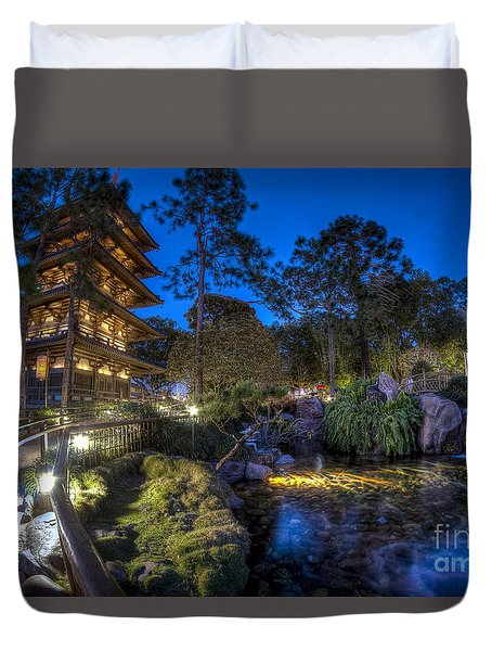 Japan Epcot Pavilion By Night. Duvet Cover