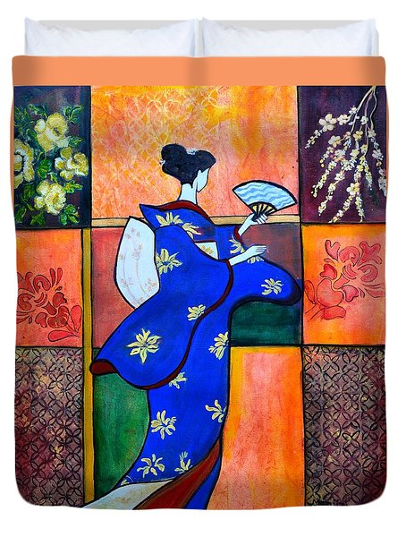Japan Geisha Kimono Colorful Decorative Painting Ethnic Gift Decor Duvet Cover