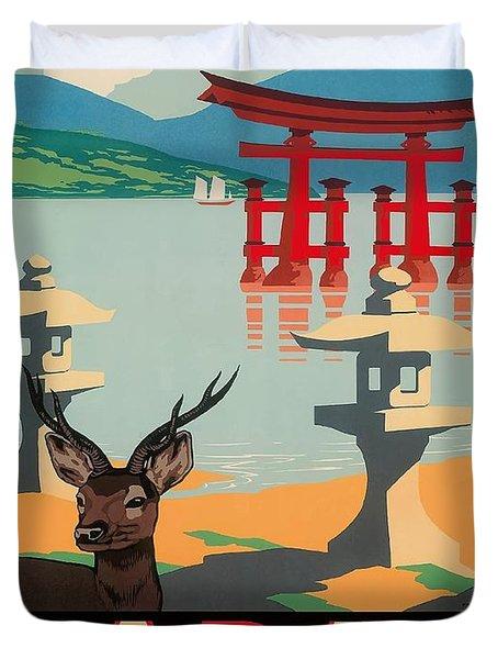 Japan Hakone Shrine Lake Ashi Vintage Travel Poster Duvet Cover
