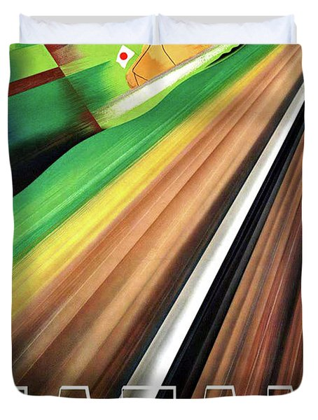 Japan, Japanese Railways, Travel Poster Duvet Cover