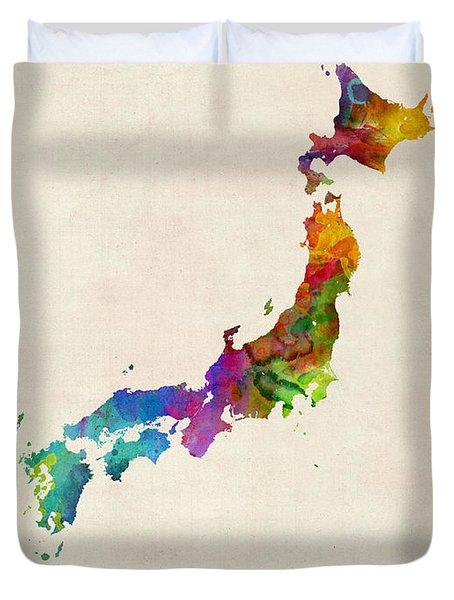Japan Watercolor Map Duvet Cover