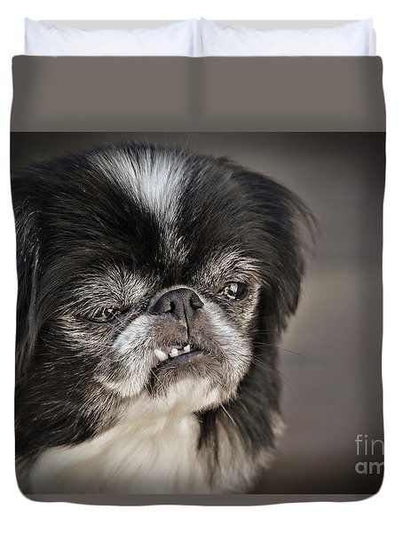 Japanese Chin Doggie Portrait Duvet Cover