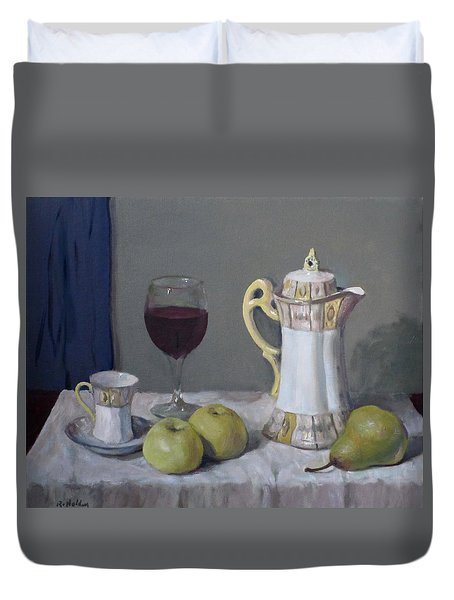 Japanese Coffeepot, Teacup, Wine Glass, Apples, Pear Duvet Cover