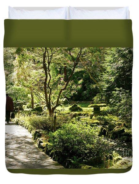 Japanese Garden At Butchart Gardens In Spring Duvet Cover by Louise Heusinkveld