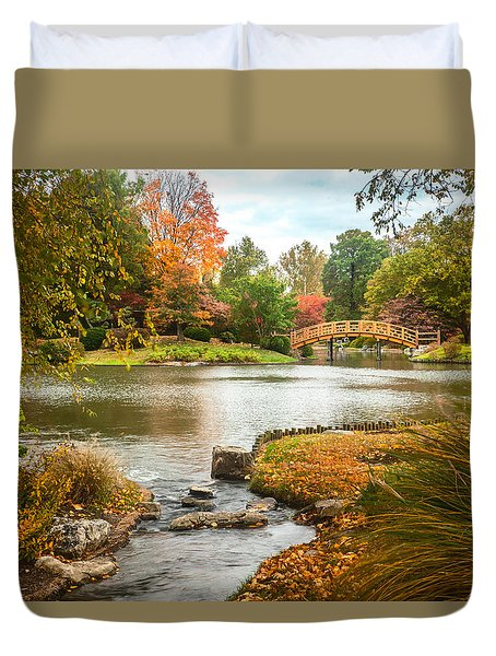 Japanese Garden Bridge Fall Duvet Cover