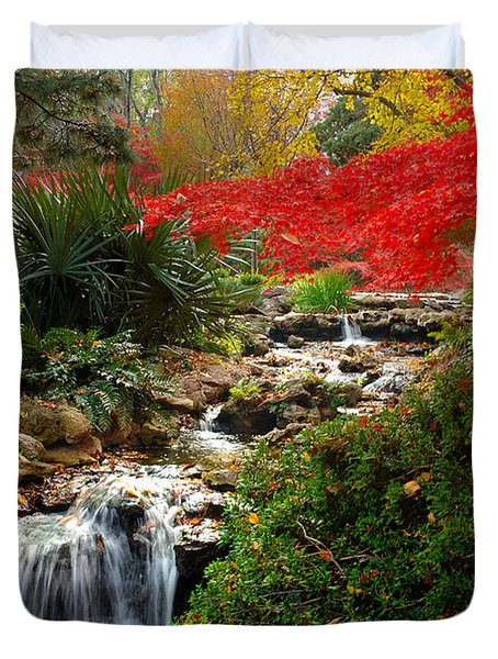 Japanese Garden Brook Duvet Cover by Jon Holiday