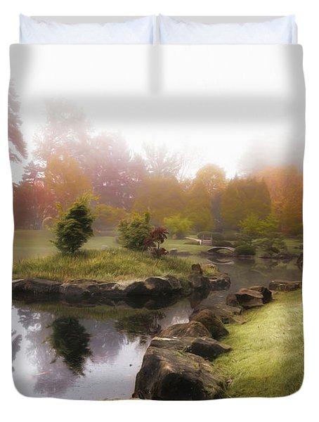 Japanese Garden In Early Autumn Fog Duvet Cover