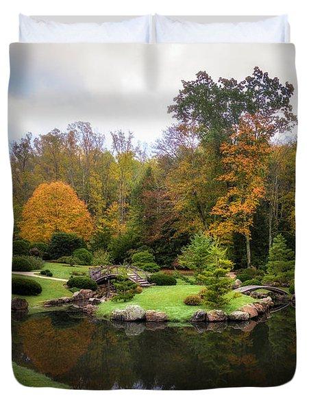 Japanese Garden In Early Autumn Duvet Cover