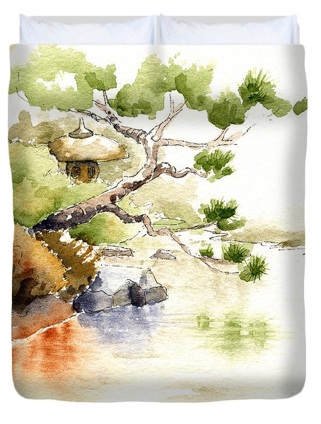 Japanese Garden Pond Sketch Duvet Cover