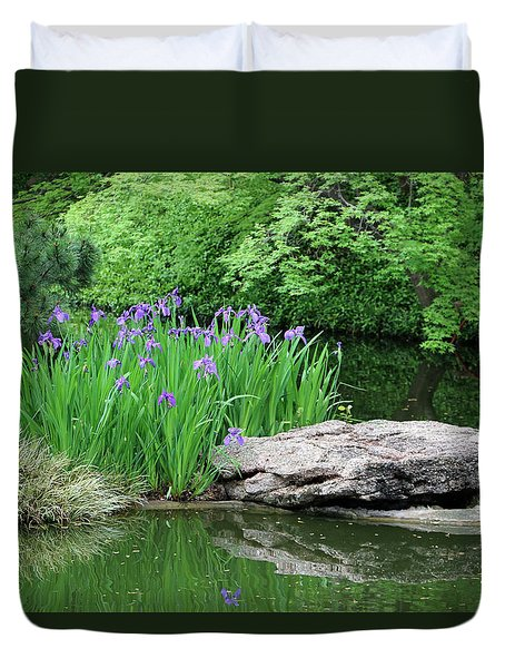 Japanese Gardens - Spring 02 Duvet Cover by Pamela Critchlow