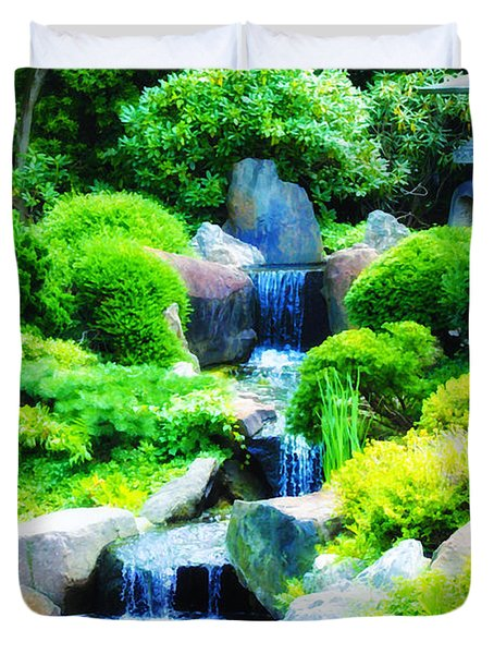 Japanese Garden Waterfall Duvet Cover by Bill Cannon