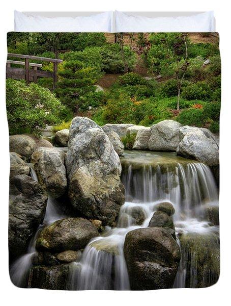 Japanese Garden Waterfalls Duvet Cover