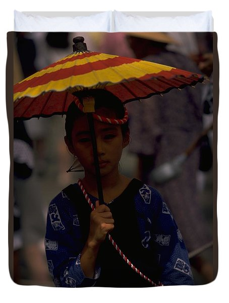 Duvet Cover featuring the photograph Japanese Girl by Travel Pics