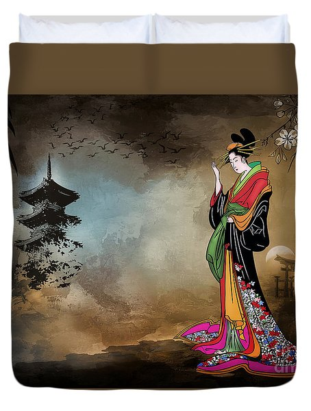 Japanese Girl With A Landscape In The Background. Duvet Cover