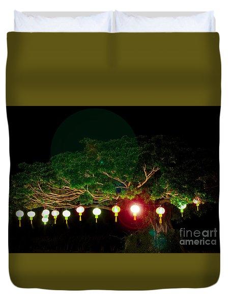 Japanese Lantern Tree Duvet Cover