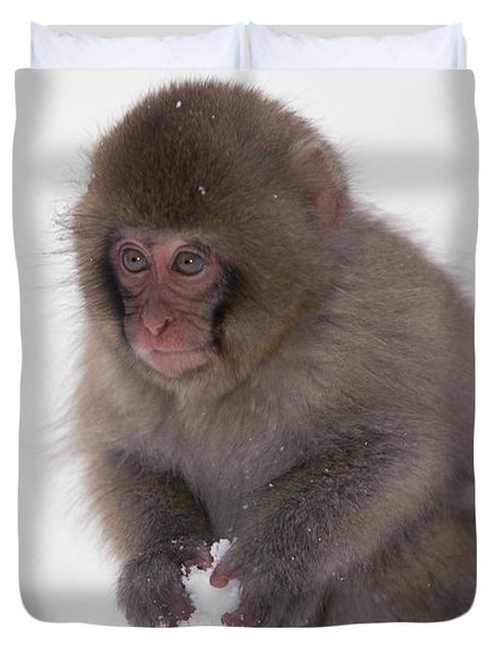 Duvet Cover featuring the photograph Japanese Macaque Macaca Fuscata Baby by Konrad Wothe