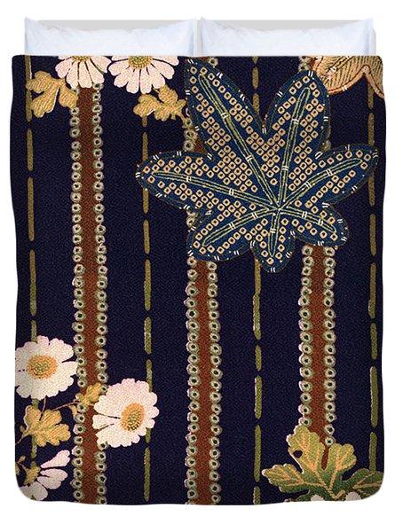 Japanese Maple And Chrysanthemum Modern Interior Art Painting. Duvet Cover