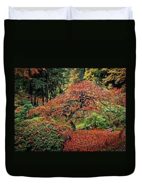 Duvet Cover featuring the photograph Japanese Maple At The Japanese Gardens Portland by Thom Zehrfeld