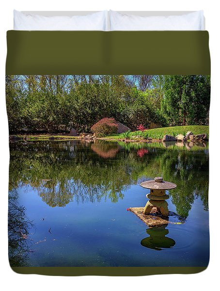 Duvet Cover featuring the photograph Japanese Reflections At Maymont by Rick Berk