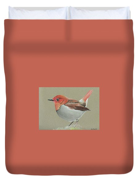 Duvet Cover featuring the drawing Japanese Robin by Gary Stamp