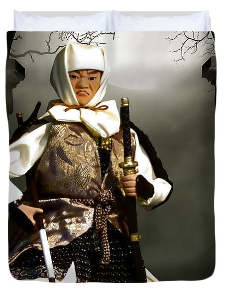 Japanese Samurai Doll Duvet Cover by Christine Till