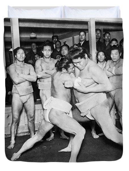 Japanese Sumo Wrestlers Duvet Cover