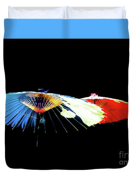 Japanese Umbrellas Assorted Colors Duvet Cover