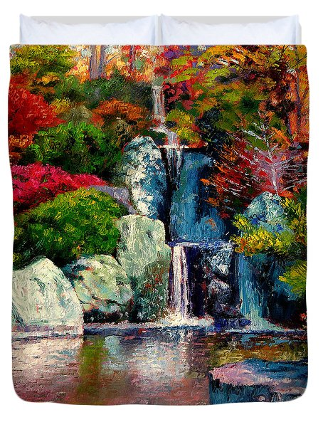 Japanese Waterfall Duvet Cover by John Lautermilch