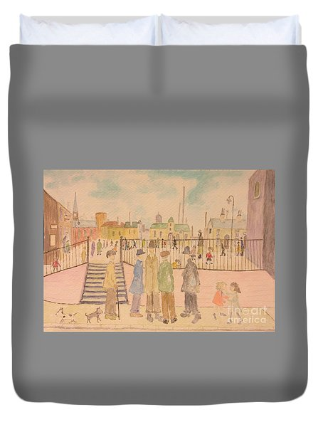 Japanese Whispers In Respect Of Lowry Duvet Cover by Sawako Utsumi