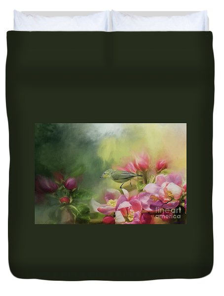 Japanese White-eye On A Blooming Tree Duvet Cover