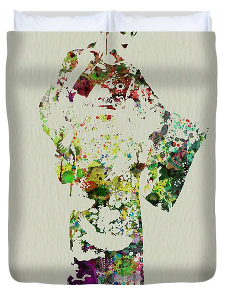 Japanese Woman In Kimono Duvet Cover by Naxart Studio