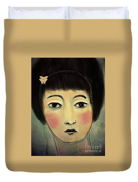Japanese Woman With Butterflies Duvet Cover by Alexis Rotella