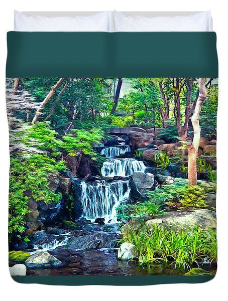 Duvet Cover featuring the photograph Japanese Waterfall Garden by Scott Carruthers