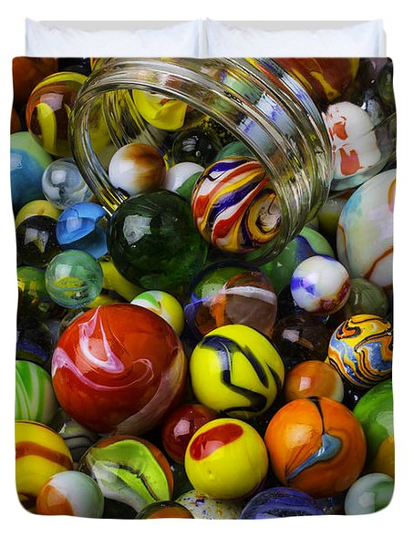 Jar Pouring Out Glass Marbles Duvet Cover