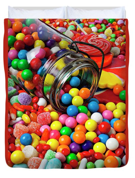Jar Spilling Bubblegum With Candy Duvet Cover by Garry Gay