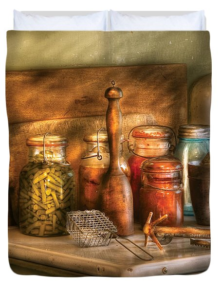 Jars - The Process Of Canning Duvet Cover by Mike Savad