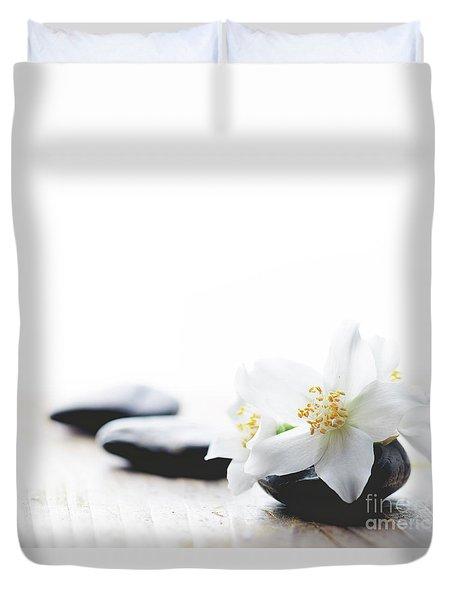 Jasmine Flower On Spa Stones Duvet Cover