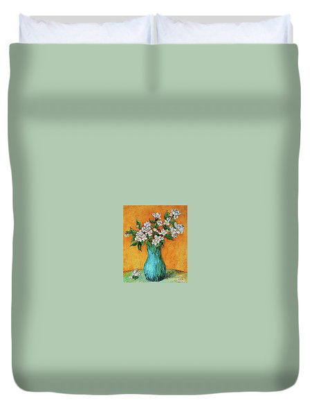 Jasmine Flowers In A Blue Pot Duvet Cover