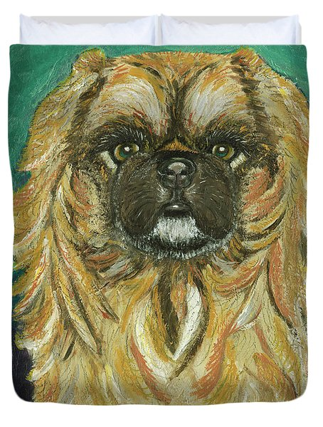 Duvet Cover featuring the painting Jasmine The Pekingese Princess by Ania M Milo
