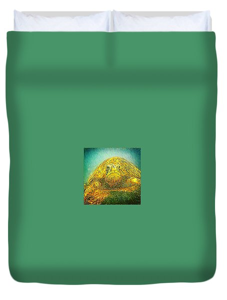 Jasmine The Turtle Duvet Cover by Erika Swartzkopf