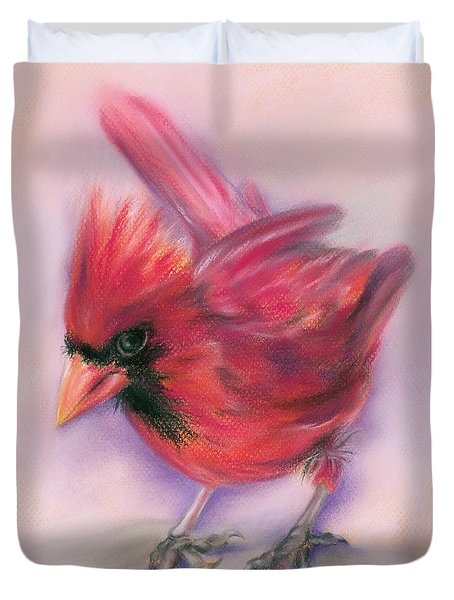 Duvet Cover featuring the pastel Jaunty Redbird Cardinal by MM Anderson