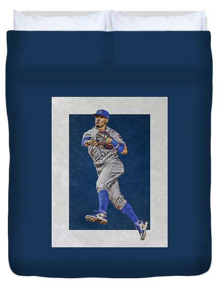 Javier Baez Chicago Cubs Art Duvet Cover
