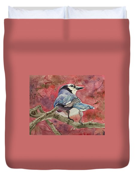 Jay In The Japanese Maple Duvet Cover
