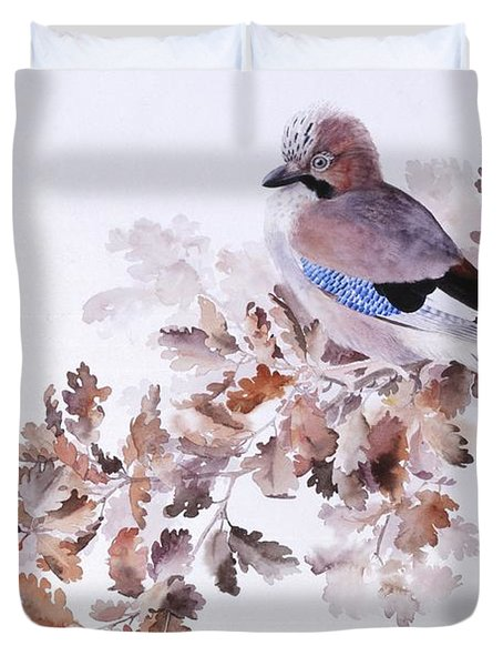 Jay On A Dried Oak Branch Duvet Cover