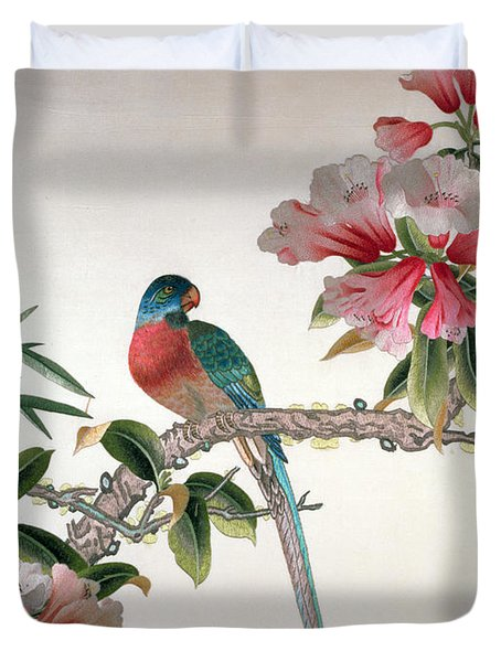 Jay On A Flowering Branch Duvet Cover by Chinese School